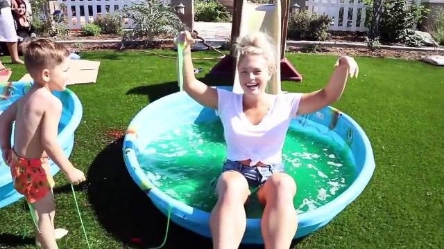 DONT Water Slide through the Wrong Mystery POOL!!  (Slip 'N Slide vs MYSTERY BOX POOL)