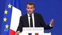 """Devant la Mutualité française Macron défend l'orientation """"sociale"""" de son début de quinquennat"""