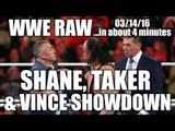 Shane/Taker/Vince Showdown! Roman Reigns Returns! - WWE RAW 03/14/16...In About 4 Minutes