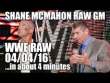 Shane McMahon as RAW GM! Huge NXT Debuts! - WWE RAW 04/04/16...in about 4 minutes