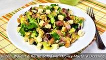 Bacon, Walnut & Raisin Salad with Honey-Mustard Dressing - Quick & Easy Salad Recipe