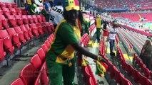 Des supporters nettoient leurs gradins (Coupe du monde 2018)