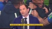 """""""Honnêtement, les joueurs de foot sont trop payés"""" affirme Benoît Hamon, qui ajoute : """"le patron de Carrefour est beaucoup trop payé par rapport à #MBappé car au moins MBappé nous donne du plaisir."""""""