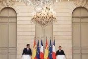 Conférence de presse d'Emmanuel Macron et de Pedro Sánchez Pérez-Castejón, Président du Gouvernement d'Espagne.