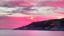 magnifique  coucher de soleil plage du Havre