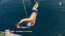 L'apnéiste Guillaume Néry plonge à 105 m de profondeur vêtu d'un maillot de bain