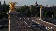 BMX, trampoline et dunks sur le pont Alexandre III, pendant la Journée Olympique