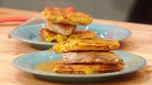 Green Chili Corn Waffles with Crispy Chicken