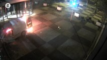 Man rams van into building before setting it alight