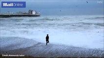 شاهد بالفيديو.. امراة تخاطر بحياتها من أجل إنقاذ كلبها من الغرق
