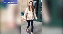 فيديو مضحك لفتاة حاولت استعراض مهاراتها في استخدام لوح التزلج
