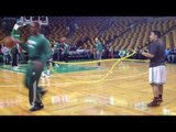 Rajon Rondo Pregame Resistance Training before Boston Celtics face New Orleans Pelicans