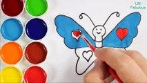 Comment dessiner et peindre papillon - Pages à colorier pour les enfants - Couleurs d'art pour les enfants - apprendre les couleurs