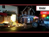 Thieves demolished half a supermarket with a crane | SWNS TV