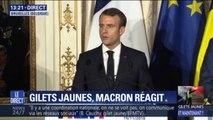 """Gilets jaunes: """"J'y répondrai en temps voulu mais ça n'est pas le lieu aujourd'hui"""" déclare Emmanuel Macron"""
