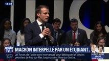 Macron interpellé par un étudiant sur les violences policières