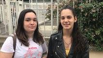 Justine et Marie témoignent devant le lycée Léonard de Vinci