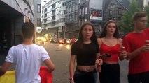 Les supporters verviétois ont mis l'ambiance dans les rues du centre après la victoire des Diables