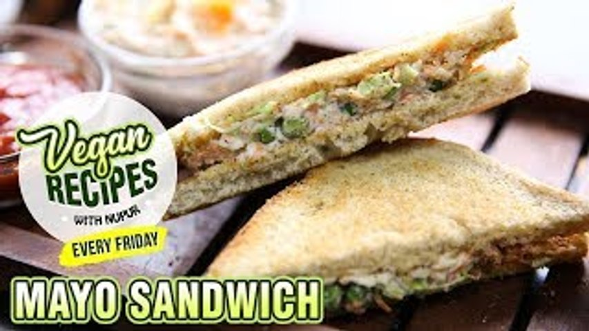 Vegan Mayo Sandwich Recipe - How To Make Veg Mayonnaise Sandwich At Home - Vegan Series By Nupur