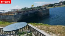 Barge smashes into wooden dock in Perdido Key, Florida