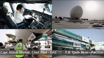 Watch our Airbus A380 land in Pakistan for the first time. We celebrated this special one-off service to Islamabad by honouring Capt. Fazle Ghani and Capt. Ejaz