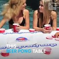 Upgrade your pool parties with this floating beer pong table  Buy it here: