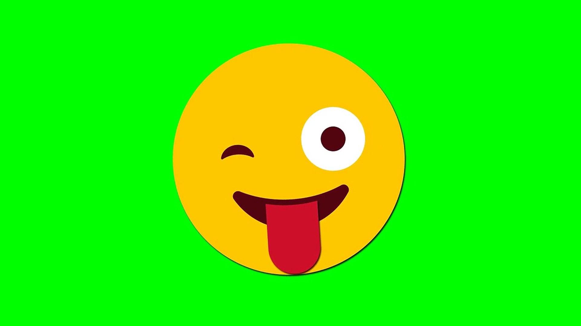 Emoji Stuck Out Tongue Winking Eyes Green Screen Khroma Key animation   эмоджи на зелёном фоне