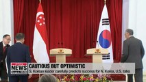Moon carefully predicts success for N. Korea, U.S. talks during summit with Singapore