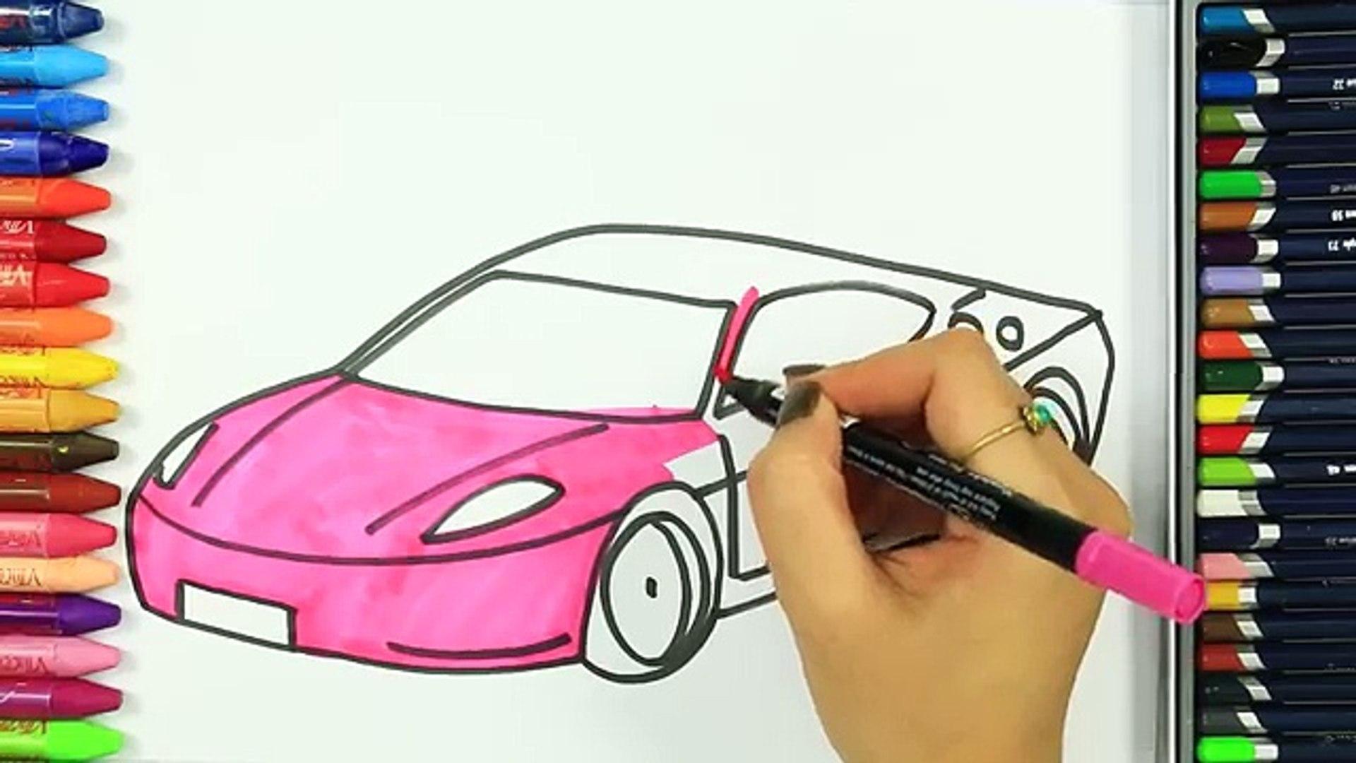 الرسم والتلوين للأطفال كيفية رسم سيارة الوردي الرسم للأطفال