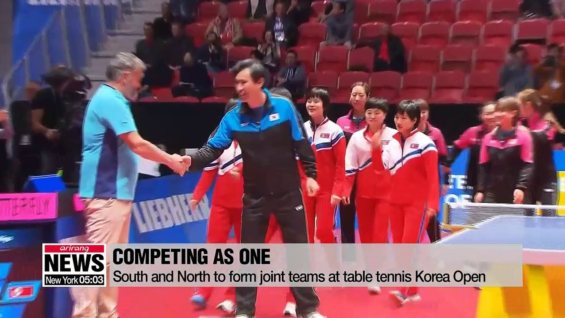 North Korean table tennis players arrive in S  Korea to form joint team  with S  Korean players at Korea Open
