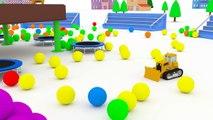 Apprendre les véhicules avec Dino le Dinosaure, les balles et les trampolines   Dessin animé