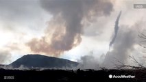 Whirlwind forms over lava fissure at Kilauea volcano