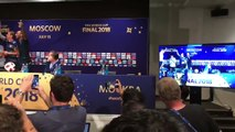 France players invade Deschamps press conference, spraying champagne, singing 'Didier Deschamps'!