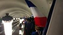 Les français dans le métro à Moscou avant la finale de la coupe du monde