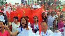 Footage of Chinese celebrating winning 2022 Olympic bid