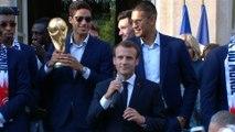 Discours du Président de la République, Emmanuel Macron lors la réception de l'équipe de France de football championne du Monde.