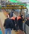 This man is stuck between a train and the platform - when somethings happens that shows the power of people working together. Feel free to pass this on ❤️