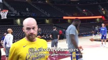 Steph Curry splashing close-up at morning shootaround in Cleveland before 2018 NBA Finals G3