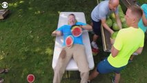 Man sets record for most watermelons sliced on own stomach