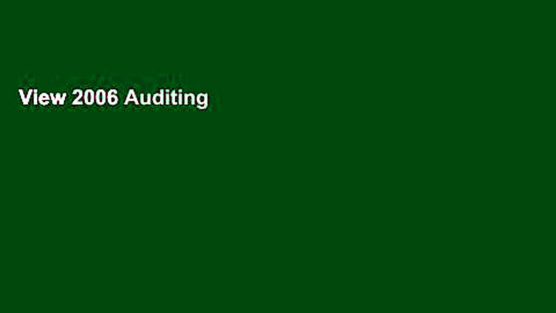 View 2006 Auditing Standards: Including the Standards of the PCAOB Ebook 2006 Auditing Standards: