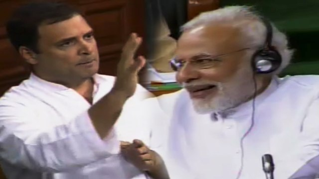 No-confidence debate: PM Modi laughs as Rahul Gandhi attacks him