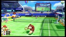 Donkey Kong & Bowser Amiibo vs Toadette - Mario Ultra Smash Tennis Nintendo Wii U 2.08.2017