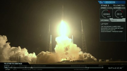 Launch & Landing of SpaceX Falcon 9 with Telstar 19 Vantage