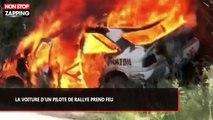 La voiture de rallye d'un pilote américain prend feu en pleine course (vidéo)