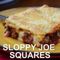 These SLOPPY JOE SQUARES have all the goodness of Sloppy Joes in casserole form! A made from scratch  filling is topped with cheese and baked between layers of