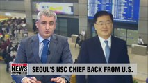 "Seoul's NSC chief describe his meetings in U.S. ""helpful to ensure ongoing talks with N. Korea will be successful and speedy"""