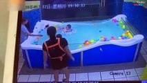 Baby nearly drowns after his swimming ring flips, leaving him struggling underwater for 46 SECONDS
