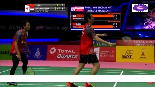 Moment Keren Thomas Cup 2018 Mohammad Ahsan /Hendra Setiawan vs Li junhui / Liu Yuchen