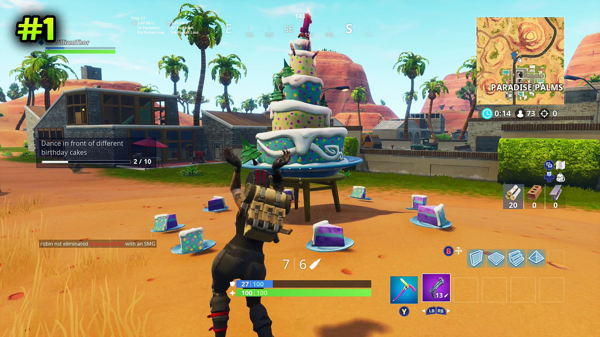 Dance In Front Of Different Birthday Cakes All Locations Fortnite Birthday Challenges Video Dailymotion