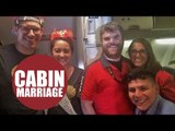 Newlyweds touched when air attendants hold special ceremony mid-flight to celebrate their marriage